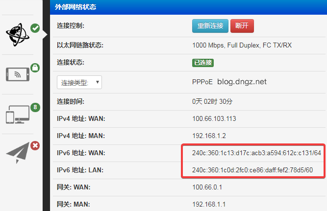 路由器已经分配到IPv6地址了